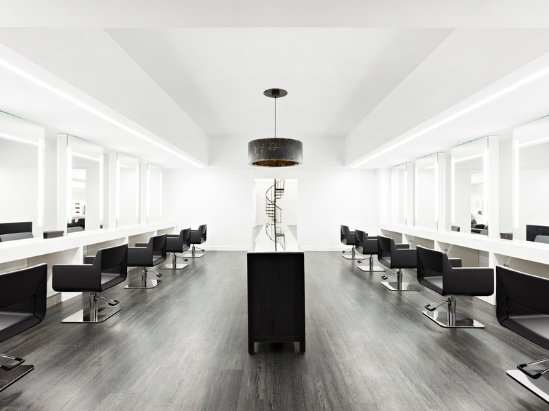 Hair salon styling stations