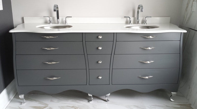 Grey lacquer vanity with curved design