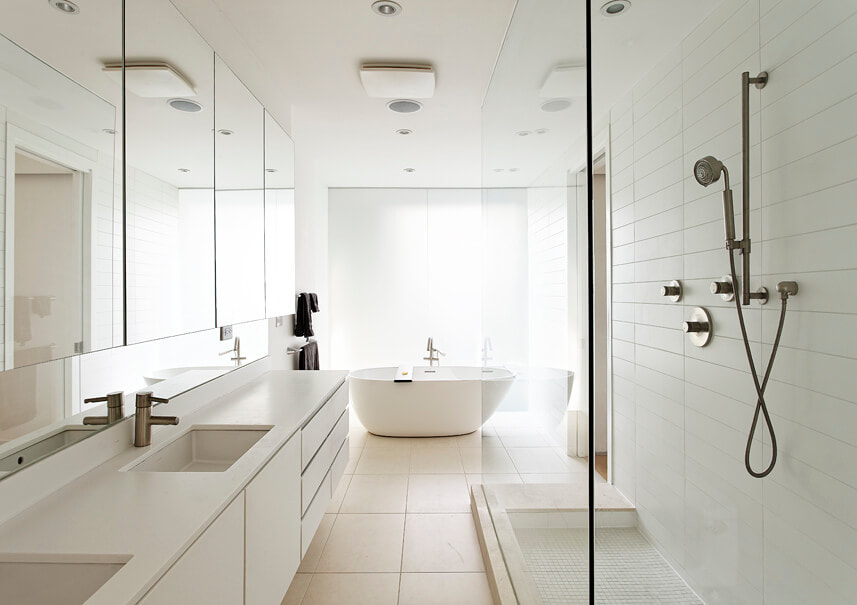 White floating vanity with medicine cabinet above